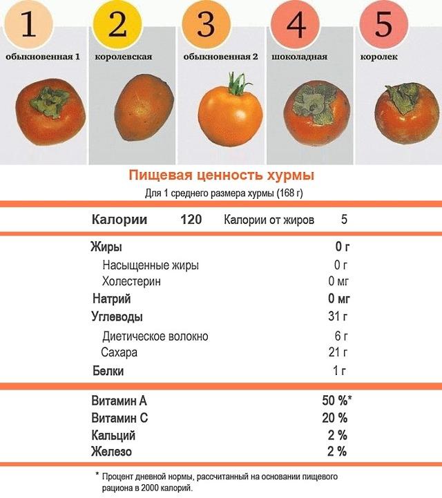 Хурма: пищевая ценность и химический состав, лечебные свойства, сферы применения